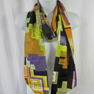 Mod Geometric Scarf/Sash/Ascot Long Doubled Fabric